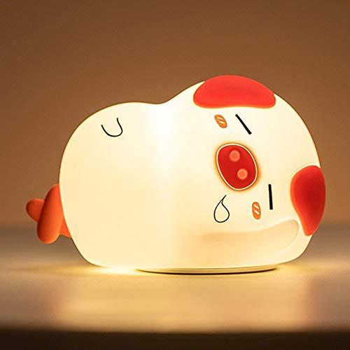 LED Nachtlicht, Süßes Schwein Kinder Schlafzimmer Lampe/Weiches Silikon Kleinkind Kinderzimmer Dekor Licht mit 7 Farbwechsel, Einmal Tippen Steuerung LED Licht für Baby Teen Mädchen Kinder Jungen (Mädchen Teen Betten)