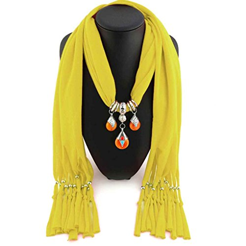 LUFA Woman's Beeswax Beads Pendant Scarf Polyester Solid Fringed Long Scarf Neckerchief