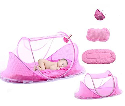 Mosquito Net Baby Travel Cuna Cama, Pop Up Tent Portátil y plegable con colchón Pillow & Music Pack, Accesorios para cama infantil, Transpirable Travel Kids Tent, Instalación libre, GRANDE, Rosa