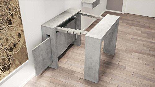 Emporio3 consolle allungabile in legno exodus - sg1618, cm 120 x 44 (aperta 120 x 186), struttura cemento