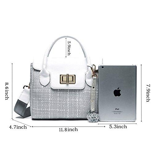 Borsa Donna Grigio Tracolla Tela Paglia Ufficio in PU Pelle Borse Spalla a Mano Canvas Bag per Ragazze grigio