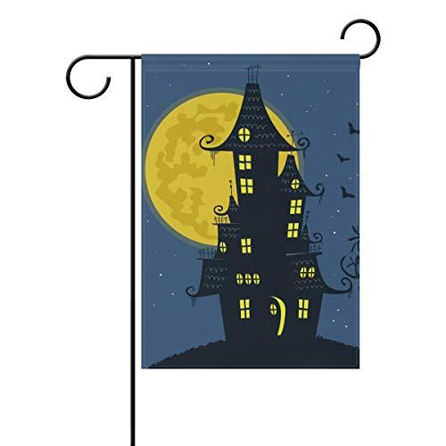 LINDATOP Gruselige Halloween-Haus-Hintergrund, Garten-Flagge, 30,5 x 45,7 cm, doppelseitig, Hof-Dekoration, Polyester Outddor Flagge, Home Party, Polyester, Multi, 12x18(in)