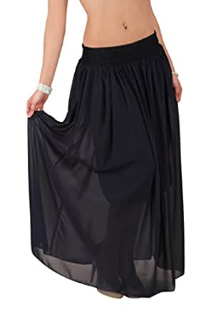 5913 Fashion4Young Damen Maxirock Chiffon-Material Rock skirt verfügbar in 6 Farben Gr. 36 38 40 (One Size 36 38 40, Dunkelblau)