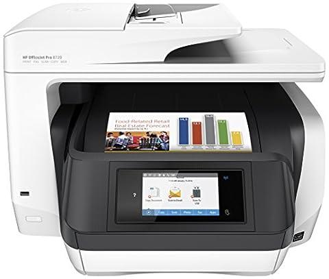 HP OfficeJet Pro 8720 Multifunktionsdrucker (A4, Drucker, Scanner, Kopierer, Fax, WLAN, LAN, NFC, Duplex, Instant Ink kompatibel, HP ePrint, Airprint, Cloud Print, USB, 4800 x 1200 dpi) weiß