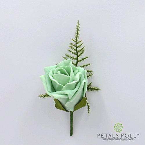 Fiori artificiali matrimonio mano-realizzato da petali Polly, rosa di schiuma asola in verde menta
