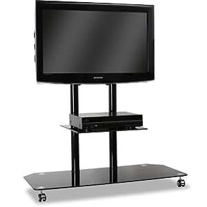Electronic Star support TV (matériaux de qualité, support en aluminium et verre de sécurité haut de gamme, roues pour un transport facile, poids max 50kg) - noir