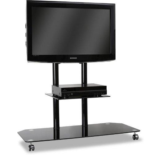 ELECTRONIC STAR SOPORTE DE TELEVISION CON BASE DE CRISTAL NEGRO (PARA TV LCD DE 27 A 50  50 KG DE CARGA  PERMITE OCULTAR CABLES  ESTRUCTURA DE ALUMINIO NO CROMADO)