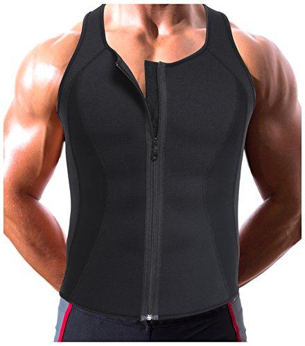 Gotoly Herren Body Shaper Hot Sweat Workout Tank Top mit Reißverschluss Neopren (2XL Für 100-115 CM Taille, Schwarz)