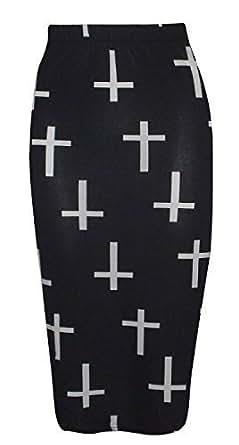 Womens Ladies Bodycon Animal Cross Skull Wow Print Pencil Skirt Midi Calf Length Normal and Plus sizes (8-26) (S/M-UK(8-10), Cross)