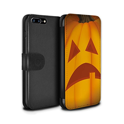 Stuff4 Coque/Etui/Housse Cuir PU Case/Cover pour Apple iPhone 7 Plus / Effrayant Design / Citrouille Halloween Collection Triste