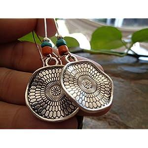 ✿ POCAHONTA ETHNO MANDALA HOLZ OHRRINGE ✿ orange – türkise lange Haken Ohrringe – einmaliges Geschenk – handgefertigt –