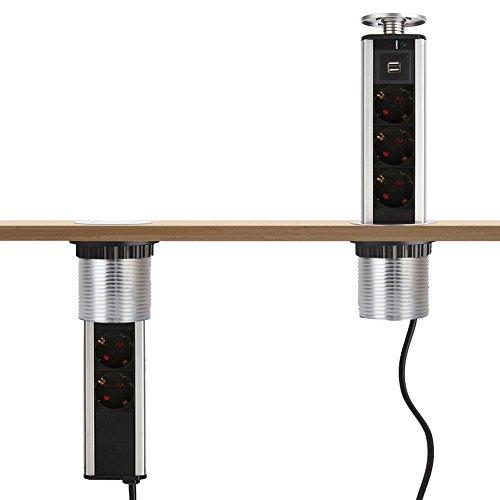 Dazone versenkbare Tischsteckdose,3-Fach Tischsteckdosenleiste mit 2-fach USB 2m Anschlusskabel, für Büro-, Arbeits- und Küchenflächen (Verchromt)