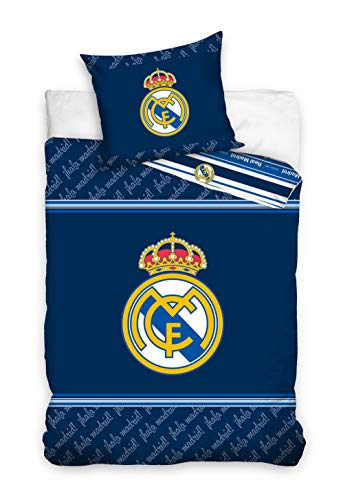 Real Madrid - Juego de Funda nórdica y Funda de Almohada 140 x 200 cm y 63 x 63 cm respectivamente...