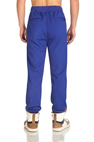 Pizoff Herren Hip Hop Harem Jogginghose aus gestepptem Hochglanz-Jersey P3136-BLUE