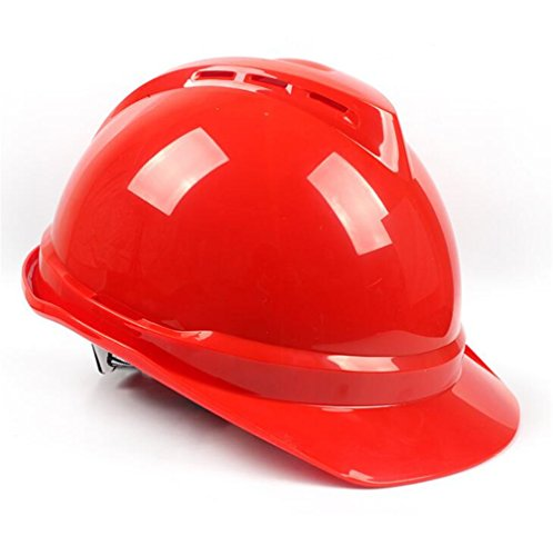 STEAM PANDA Schutzhelm-ABS Material V-Typ Flut-Verhinderungs-Bau-Sturzhelm Breathable Technik-Sturzhelm,Red