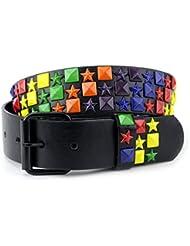 Superbe ceinture cloutée aux couleurs de l'arc-en-ciel, carrés et étoiles avec boucle interchangeable. Produit offert par NYfashion101.