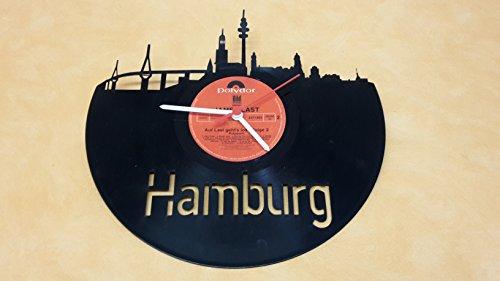 Wanduhr Uhr Skyline Hamburg Silhouette Chronometer aus original Vinyl Schallplatte Upcycling Design Uhr Wand-Deko Wand-Dekoration