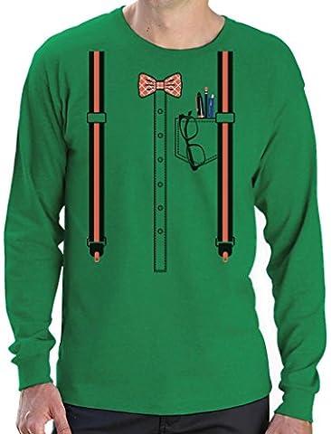 Déguisement d'intello, Geek costume Halloween T-shirt Manches longues Homme Medium Vert