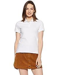 Amazon Brand - Symbol Women's Plain Regular Fit Cotton Polo (SYM-POLO-2-White-S)
