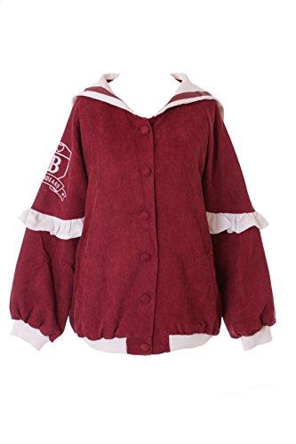 TS-141-2 Burgund Rot Sailor Matrosen Lolita Rüschen Cord Bomber-Jacke Pastel Goth Harajuku Japan Kawaii-Story