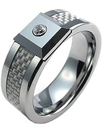 KONOV Schmuck Wolfram Wolframcarbid Herren-Ring, Zirkonia Diamant Titan Kohlefaser Inlay, Eheringe Verlobungsringe, Weiß Silber