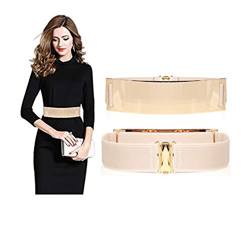 Famhome - Cinturón elástico de cintura para mujer, estilo vintage Dorado Bright Belt-beige 90