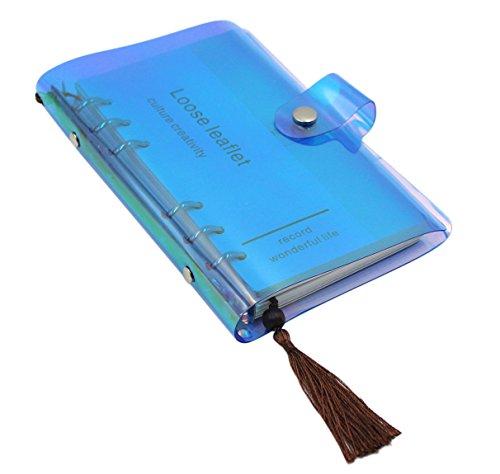 cuddty Holografische transparent weich PVC-Abdeckung Binder Planer 6-Ring-Loose Leaf Notizbuch Agenda Reisende Notebook mit blanko Grid liniertes Papier 90Blatt Einheitsgröße blau (Binder Papier Spirale)