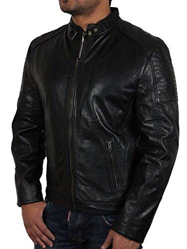Männer schwarze Bikerjacke aus Leder Schwarz