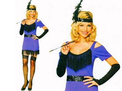 1920er 1930er Damen violett Flapper Charlston Kostüm Alle (Fringe Flapper Kostüm)