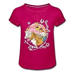 Bibi Und Tina Wettreiten Im Wald Mädchen T-Shirt mit Raffungen, 6 Jahre, Fuchsia
