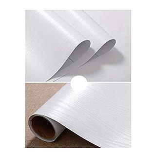 JLCorp Matte Black Grain Wood Textured Contact Paper Vinyl Film Self-Adhesive Wallpaper Shelf Liner Drawer Liner Peel-Stick Countertop Sticker 10ft 3 Meters (White)