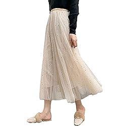 Frauen Damen Tutu Mesh Röcke Pailletten Tüll Funkelnde Sterne Lange Röcke Hohe Elastische Taille Gefaltete Maxi Röcke (Aprikose)