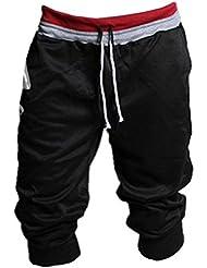 Malloom Hombres Deportes sudor pantalones harem Dance holgados pantalones de jogging de formación (L, negro)