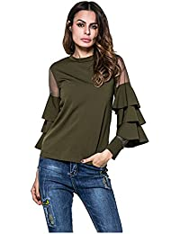 SODIAL(R) Women New Spring Autumn T Shirt Fashion Tops Female Casual Mesh Patchwork Layered Sleeve Slim Tee(Gray,M/US-2/UK-6)