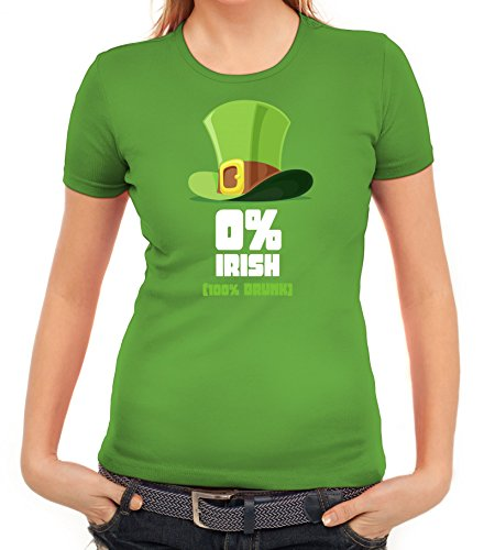 Saint Patrick´s Day St. Patricks Day Damen T-Shirt mit 100% Drunk Motiv, Größe: XL,apfelgrün (Drunk T-shirt Irish)