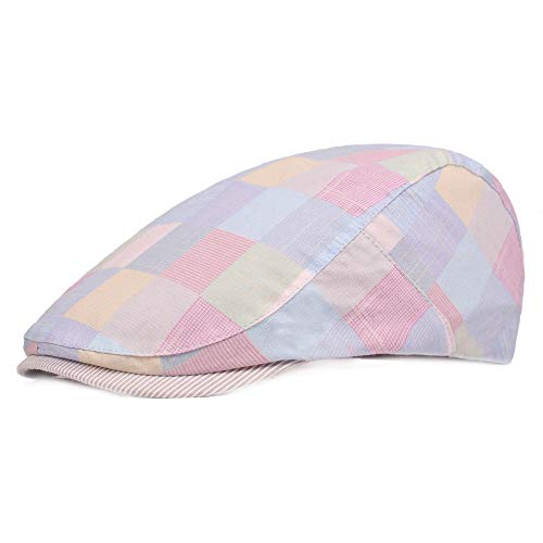 Unisex - Baumwolle - verstellbare, Flache Kappe mit Gittermütze Duckbill Newsboy-Hut Hut (Color : 2, Size : Free Size)