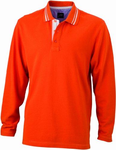 James & Nicholson Herren Poloshirt Poloshirt Men's Long-Sleeve orange (dark-orange/dark-orange/white) Small (Erwachsene S/s T-shirt Navy)
