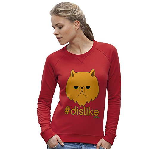 TWISTED ENVY Damen das Sweatshirt Grumpy Cat Hashtag Dislike Print Small Rot