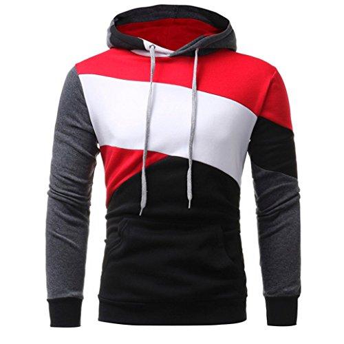 L/s Zip Pullover (Kapuzenpullover Herren Slim Fit Mit Kapuze Herren Lange Ärmel Kapuzenpulli Tops Jacke Mantel Outwear (L, Schwarz))