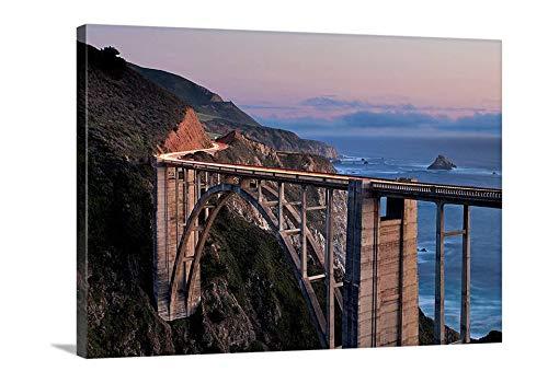 cwb2jcwb2jcwb2j Canvas Print Canvas Art Wrap California Big Sur Photography Bixby Bridge Photo Pacific Coast Highway Print Oversized Seascape Decor Bedroom Bathroom Decoration Wall Art Wall Decor