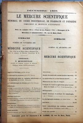 MERCURE SCIENTIFIQUE (LE) du 01-12-1895 EMPLOI DU QUEBRACHO COMME MATIERE TANNANTE - LA PRODUCTION DE LA LAINE DANS LE MONDE - FABRICATION DES FEUX DE BENGALE - LE SUCRE EN AGRICULTURE POUR LA NOURRITURE DU BETAIL PAR VIVIEN - TRAITE THEORIQUE ET PRATIQUE DE METALLURGIE PAR S. SCHNABEL - LA PHOTOGRAPHIE MODERNE PAR AL. LOND par Collectif