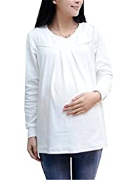eb7d5ad008ea AILIENT Comoda Premaman Top Donna Sciolto per Gravidanza Maglia con Maniche  Lunghe Maglietta Taglie Forti Maternity