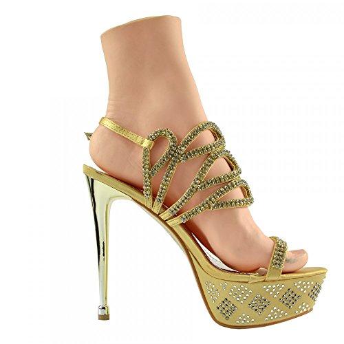 Kick Footwear - Donna Charmaine Chiaro Perspex Tacchi Alti Della Piattaforma Pole Dancing Scarpe Oro AB3909
