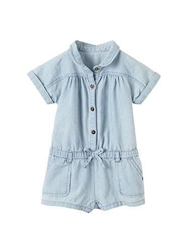 Vertbaudet Sommer-Overall für Baby Mädchen, Denim bleached 62