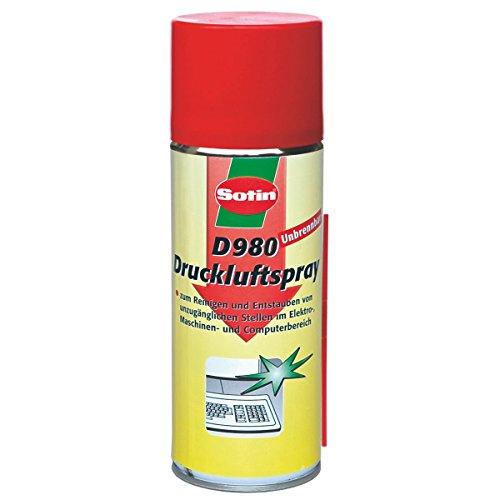 Sotin Druckluftreiniger D980 unbrennbar - Druckluftspray 400ml Dose - besonders hoher Druck / - Air Duster Cleaner
