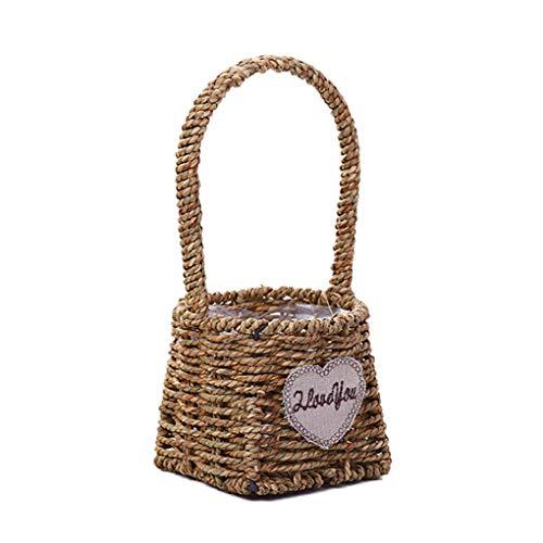 Florallive Stroh-Woven Wire Mesh Weben Blumen Korb Obst Geflochtene Storage Basket Startseite Dekotopf Griff -