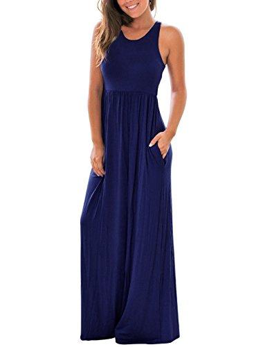 Chicolife Womens Maxi Racerback Jersey Kleid Ärmellos Kleider (Kleid Maxi Womens Baumwolle)