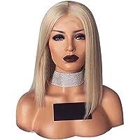 ROKOO Peinado de las mujeres Corto recto Bob pelucas de pelo Rubio resistente al calor Fibras sintéticas pelucas