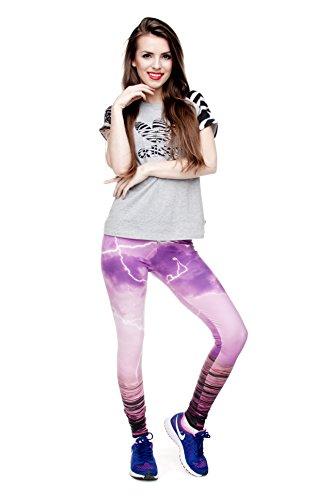 Filles Leggings pour femme Imprimé All Over pas voir à travers très élastique UK 8/10/12Entraînement Fitness Yoga de Course Gym Danse Pantalon pour femme Multicolore - PINK THUNDER