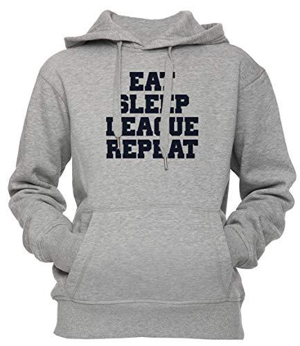 Erido Eat Sleep League Repeat Shirt Unisexe Homme Sweat À Capuche Sweat-Shirt Pull-Over Taille M Unisex Men's Women's Hoodie Grey Medium Size M